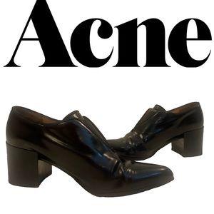 ACNE black leather block heeled shoes